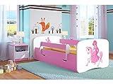 Bjird Lit d'Enfant Complet 70x140 80x160 80x180 sommier tiroir barrierères pour Filles garçons lit Simple - Rose - Princesse à Cheval 70 x 140 cm