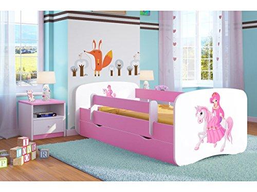 Cama infantil 80x180 Cama para Niños rosa con barrera de protección contra caídas Cajones extraíbles y base de listones - para niñas - 180 x 80 cm Princesa en el pony