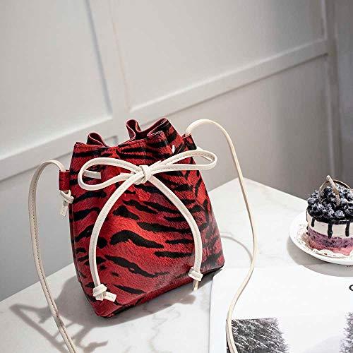 Rucksack,Damen Rucksack Nylon Schultaschen Anti-Diebstahl Tagesrucksack Schultertaschen,Mode Frauen Leopardenmuster Umhängetasche Messenger Bag Bucket Bag(rot)