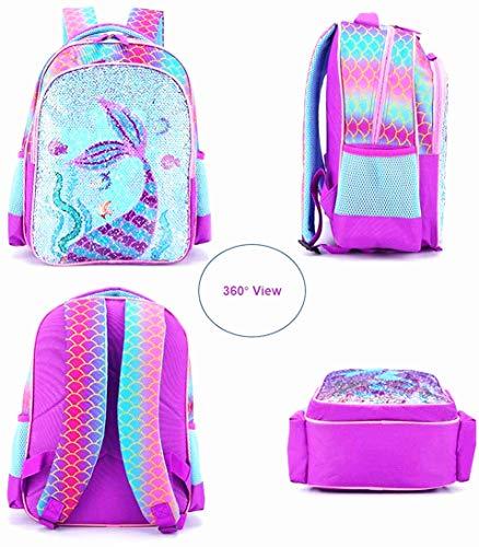 Reversible Sequin School Backpack Lightweight Little Kid Book Bag for Preschool Kindergarten Elementary, 15inch Mermaid