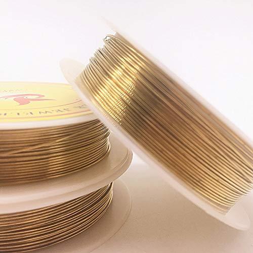 Lcuihong-Alambre de Cobre Alambre de cobertillo de Cobre de 0,2-1.0mm de latón para fabricación de Joyas, Bronce de Oro y Colores Plateados Suave y Fuerte (Color : Gold, Size : 0.7mm(3.5m))