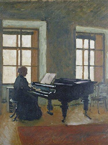 Artland Alte Meister Kunst Wandbild Herbert Masaryk Leinwandbilder Jugendstil 60 x 45 cm Am Klavier Kunstdruck Wand Gemälde R2KM