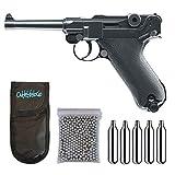 Outletdelocio. Pistola perdigon Luger P08 Full Metal 4,5mm + Funda Portabombonas + Balines + Bombonas co2. 23054/29318/13275