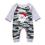 SUCES Baby Strampler Camouflage Weihnachten Bedrucktes Overall Jungen Festlich Jumpsuits Set Lange Ärmel Winter Kinder Rundhals Outfits(Tarnen,80)
