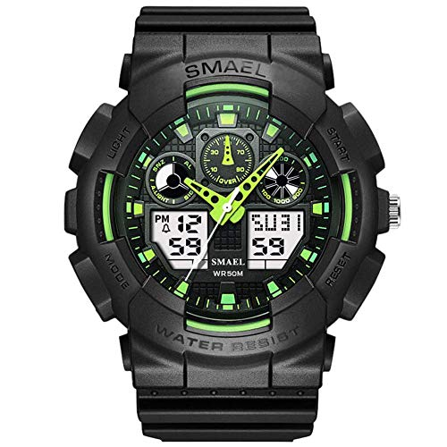 KXAITO Men's Watches Sports Outdoor Waterproof Military Wrist Watch Date Multi Function Tactics LED Alarm Stopwatch (z09_Green)