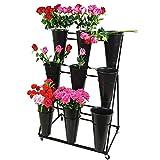 Grande Fiore Pianta Stare Vaso di Terrazza Negozio di Fiori in Metallo Giardino Decorazione Floreale Contenitore Titolare Scala 3 Strati (Color : Rack+9 Black Bucket)