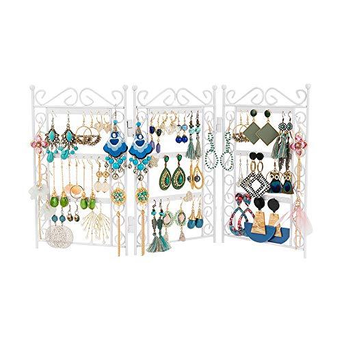 Hosoncovy Organizador de metal para pendientes y joyas, color blanco