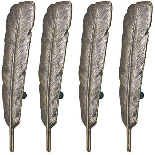 SCRTB 4Pcs Feather Drawer Knob Pull Handle Cabinet Drawer Pulls Cupboard Knobs with Screws for Home Office Cabinet Cupboard