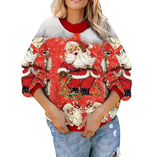 Komise Frauen Casual Langarm Weihnachten Weihnachtsmann Print Pullover Sweatshirt Tops