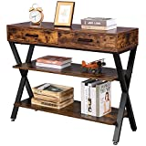 YITAHOME Console Table,Industrial Rustic Console Table with Storage,3 Tier Farmhouse Narrow Console Table with Drawers, X Design Console Sofa Tables for Entryway, Hallway, Living Room, etc