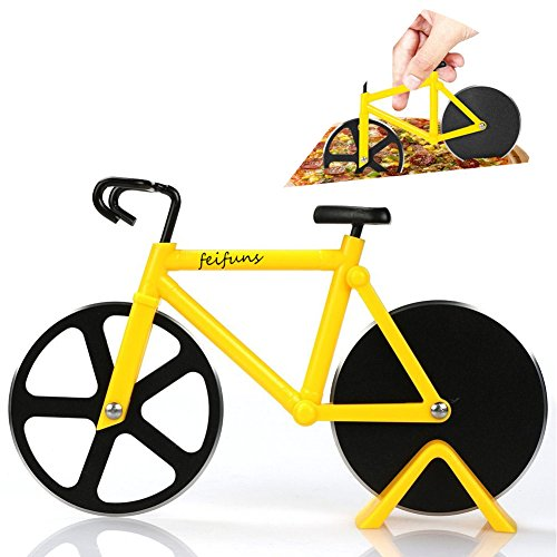 Pizza Cutter Bicycle Pizza Slicer Dual Stainless Steel Cutting Wheels with a Stand (Yellow)