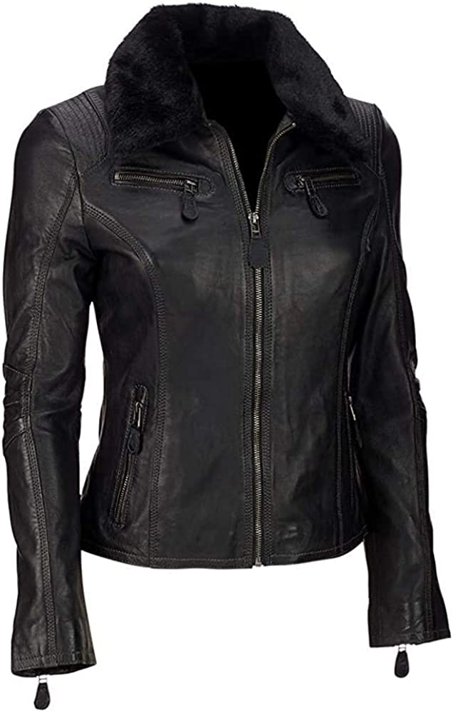 Women Biker Motorcycle Faux Leather Jacket With Removable Fur Collar
