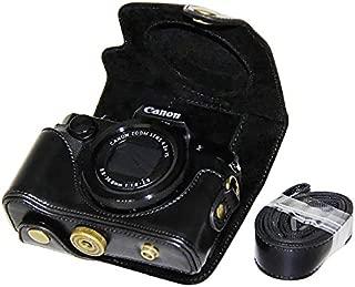 No1accessory XJPT-G5X-01 ブラック Canon PowerShot G5X 専用 防水 PU レザー 一眼レフ カメラバッグ カメラケース ハンドストラップ
