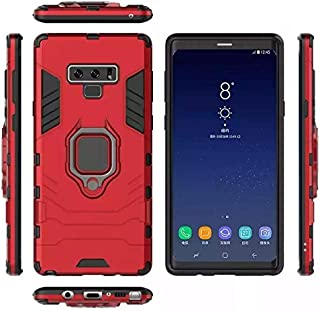 Samsung galaxy note 9 armor iron man case cover with magnetic holder ring stand red