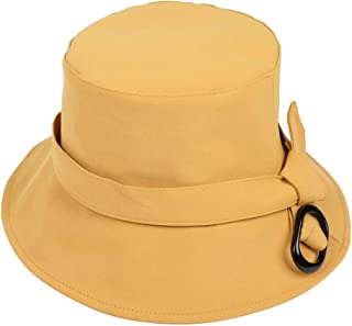 DIEBELLAU Women's Flat Top Hat Fisherman Hat Casual Visor Loose Sun Protection Cap Solid Color Basin Cap (Color : Yellow, Size : One Size)