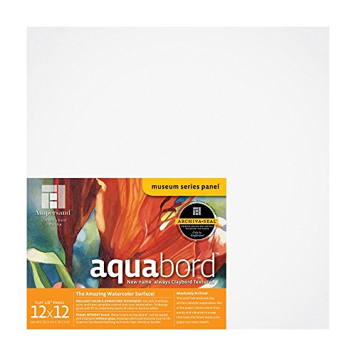 Ampersand Aquabord Panel for Watercolor and Gouache, 1/8 Inch Depth, 12X12 Inch (CBT122)