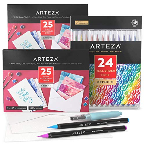 Arteza Real Brush Pens and Watercolor Cards Bundle, Drawing Art Supplies for Artist, Hobby Painters & Beginners