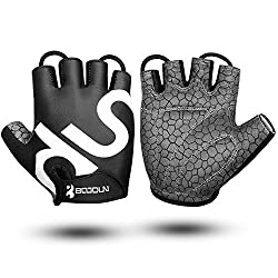 KONVINIT Bicycle Gloves Half Finger Summer Black Fitness SBR Padded Unisex Sport Gloves for Weight Training Weightlifting L by