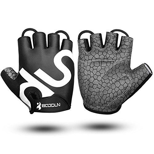 KONVINIT Fahrrad Handschuhe Fingerlos Schwarz Fitness SBR Gepolsterte Unisex Sport Gloves für Krafttraining Gewichtheben S by