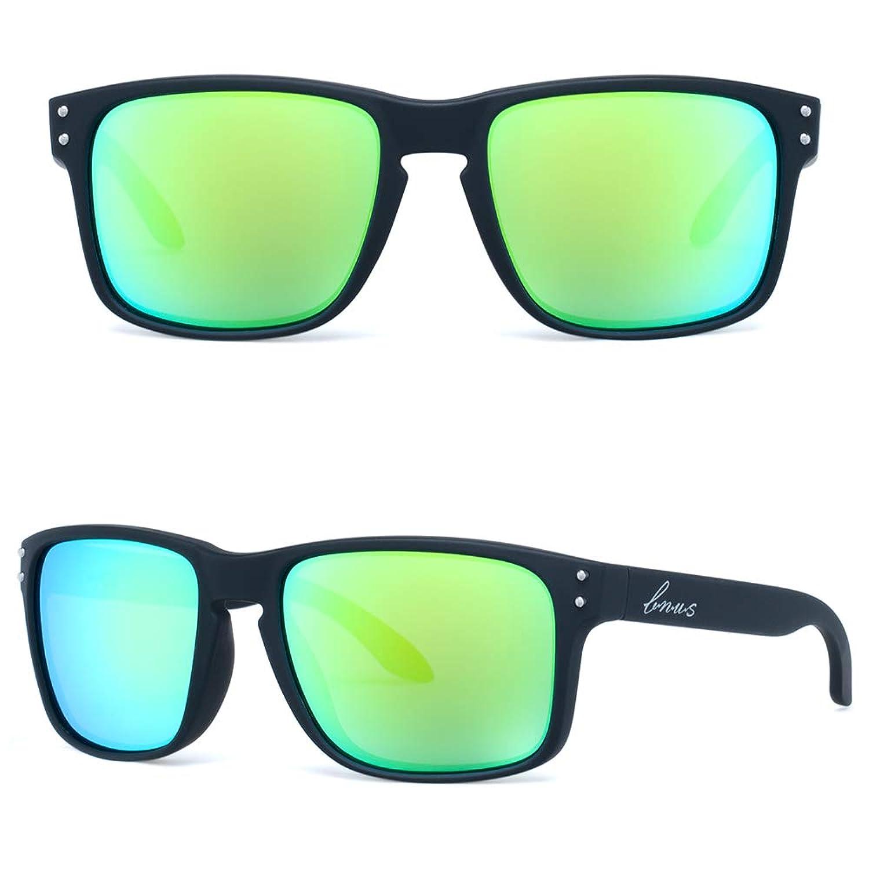 Bnusイタリア製コーニングリアルガラスは、グリーンミラーコーティング偏光レンズの古典的なサングラスを傷つけることはありません女性の色合い(ブラックラバー/グリーンフラッシュ偏光56MM、決してスクラッチミラーコーティング)