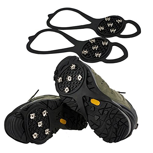 EZYoutdoor Snow Spikes Crampons Unisex Anti Slip Shoes Grippers Ice Snow Cleats Footwear Stainless Steel Spikes Durable Silicone Ice Cleat Spikes Crampons for Hiking On Ice Snow Ground Winter Walking