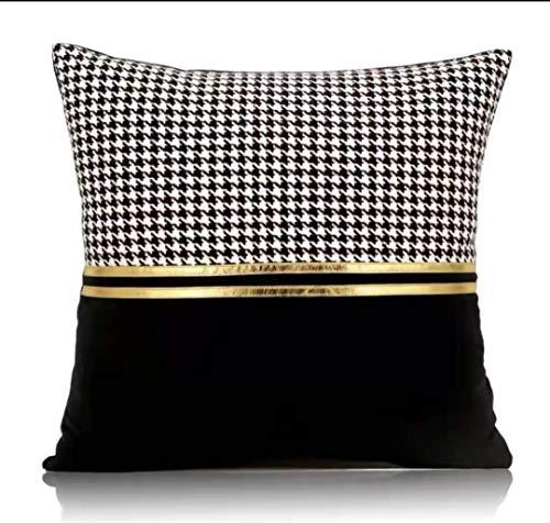 INJOY HOME DECOR Modern Fashion Luxury Faux Leather Fabric Patchwork Black...