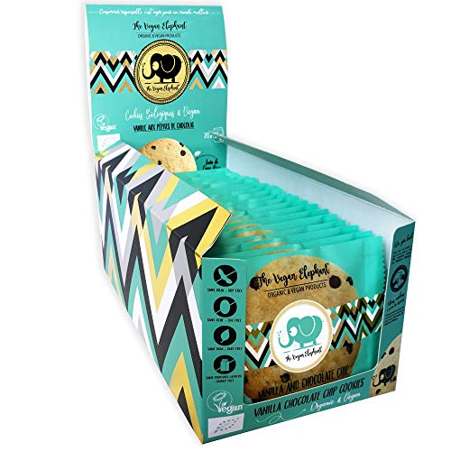 Vegan Cookies Bio Kekse: Vanille-Schokoladen Kekse. Spenderbox mit 20 Keksen, Einzeln Verpackt in Papiertüten (700G)