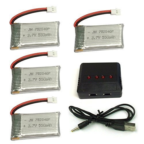 Cheerwing 4pcs 3.7V 550mAh Lipo Battery and 4-in-1 Charger for Syma X5SW X5 X5C X5C-1 RC Drone Parts