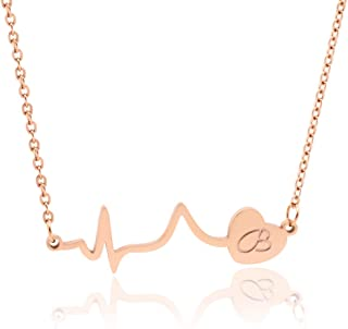 WDSHOW 18k Rose Gold Plated Initial Heartbeat Necklace