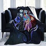 Mono-Jy Jack Skellington and Sally in Nightmare Christmas Ultra Soft Throw Blanket Flannel All Season Light Weight Living Room/Bedroom Warm Blanket 50'X40'