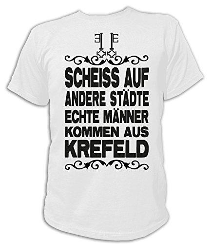 Artdiktat Herren T-Shirt Scheiß auf Andere Städte - Echte Männer Kommen Aus Krefeld Größe XXXL, Weiß