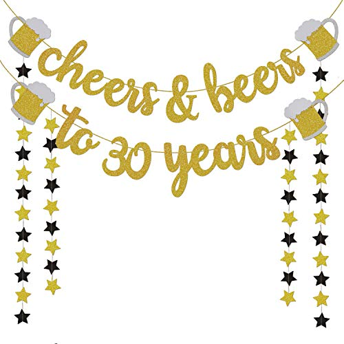 30th Birthday Decorations for Him / Her - 30th Birthday Gifts - Cheers & Beers to 30 Years Gold Glitter Banner - 30th Anniversary Decorations for Party, 30th Wedding Party Supplies for Men / Women