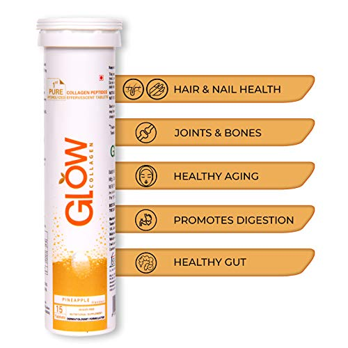 GLOWGLUTATHIONE Glow Collagen 1000 1st Collagen Peptides (Hydrolyzed) 1000mg Effervescent High Absorption Pineapple Flavour 15 Tablets for Skin, Thick Hair, Stronger Nails and Joints