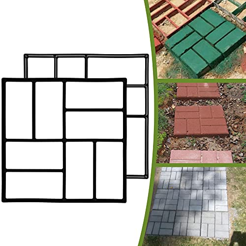 2-Pack Concrete Walkway Moulds Stamped Concrete Molds Paving Pavers (2E)