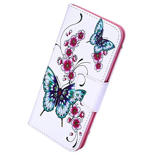 Herbests Kompatibel mit Xiaomi Redmi 7A Handyhülle Flip Wallet Brieftasche Hülle Leder Bookstyle Tasche Case Handytasche Hülle Ledertasche Klapphülle Kartenfächer,Schmetterling Blume