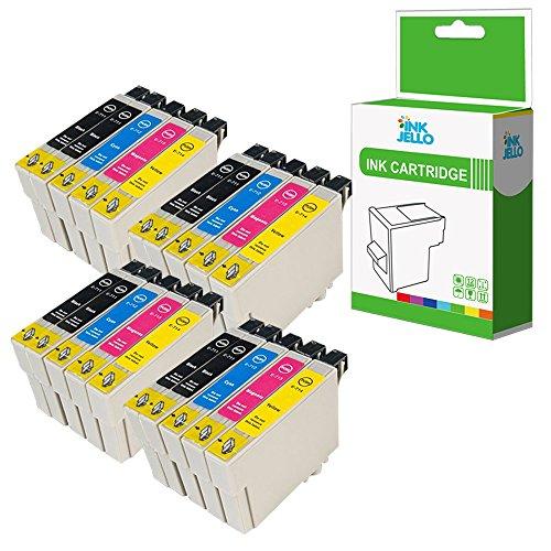 InkJello Compatibile Inchiostro Cartuccia Sostituzione Per Epson Stylus CX4300 D120 D5050 D78 D92 DX400 DX4000 DX4050 DX4400 DX4450 DX5000 DX5050 DX6000 DX6050 DX7000F DX7400 T0715 (B/C/M/Y, 20-Pack)