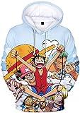 PANOZON Sudadera Hombre One Piece Impresión 3D de Luffy Camiseta con Capucha para Fanes de Rey de los Piratas (XL, Colección 87-1)