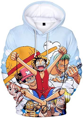 PANOZON Sudadera Hombre One Piece Impresión 3D de Luffy Camiseta con Capucha para Fanes de Rey de los Piratas (S, Colección 87-1)