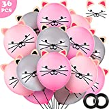 36 Pieces DIY Cat Balloons Animal Balloons Latex Kitty Balloons Pink Silver Balloons for Cat Party Decorations Animal Theme and Birthday Party Decoration Supplies (12 Inches)