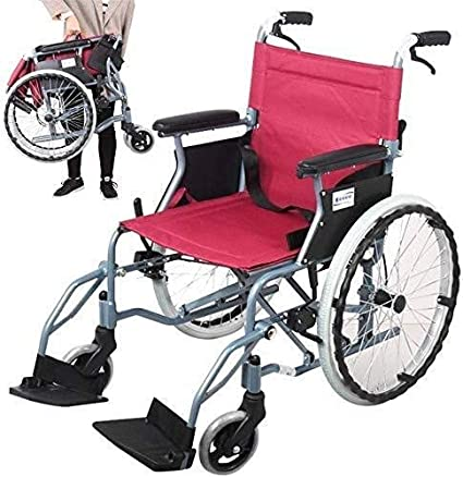 Silla de ruedas de aluminio - Silla de ruedas plegable liviana con llanta neumática, estructura de soporte doble cruzada, rojo, adecuada para personas mayores y personas necesitadas