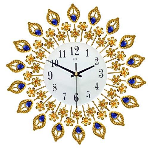 yanzz Escuela, Oficina, Reloj de Pared Hierro Arte Oro Reloj Decorativo silencioso Forma de Pavo Real única Relojes de Pared Modernos Decoración del hogar Reloj para Sala de Estar