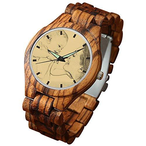 SOUFEEL Reloj Madera Foto Personalizado con Nombre para Hombre Tallado Regalo para Novio Marido Padre