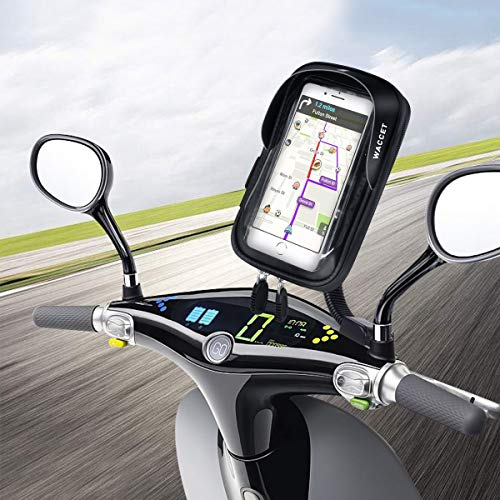 WACCET Soporte Movil Moto Impermeable Motocicleta Teléfono Soporte con Pantalla Táctil Sensible Soporte Movil Scooter para iPhone XS MAX/XR/X/8Plus Samsung S9/S8/S7 hasta 6,5'' Smartphone
