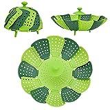 NEWLIUXI 2 unidades de bandeja de vapor ajustable con mango extensible para verduras y frutas, cesta plegable, inoxidable, apta para lavavajillas, comida para bebés (2 unidades de color verde)