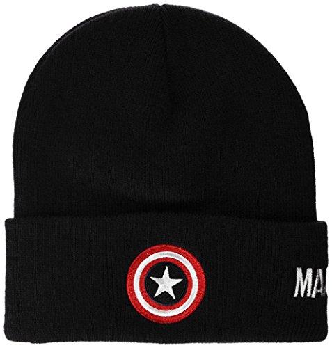 Marvel Herren Captain America Shield Strickmütze, schwarz, one Size