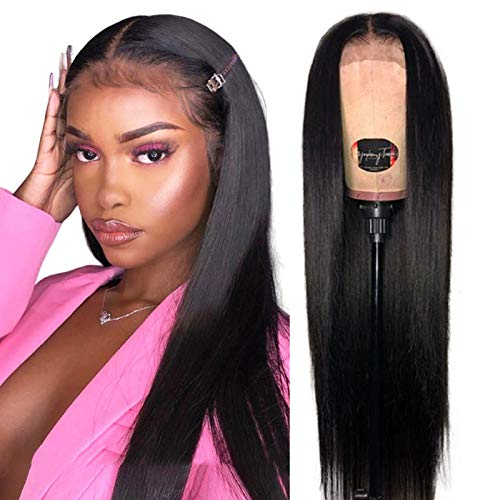 Straight Lace Front Wigs Human Hair Wigs for Black Women (24 Inch 180% Density) Jaja Hair 13x4 Lace Front Wigs Pre Plucked with Baby Hair Bleached Knots Natural Black Color