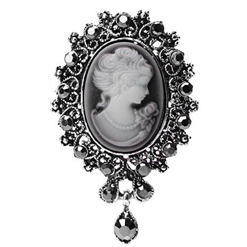 Dabixx Lady Vintage Cameo Victorian Style Wedding Party Broche Colgante para Mujer - Plata