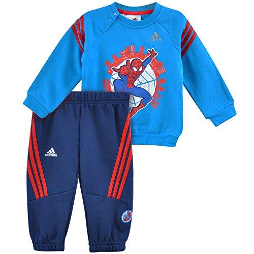 adidas Spiderman Crew Chándal para niños pequeños, color azul / rojo, tamaño 6 meses (68 cm)