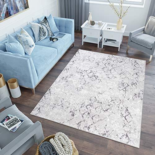 TAPISO Sky Teppich Kurzflor Modern Grau Creme Karo Geometrisch Gitter Design Meliert Wohnzimmer Schlafzimmer 3D Optik ÖKOTEX 120 x 170 cm
