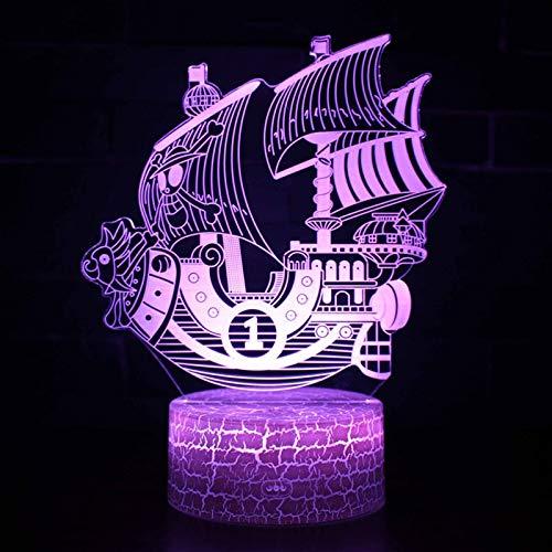 Anime Cartoon Comics Film Einteiliges Segelboot Schiff Tausend Sonnige 3D Acryl LED Nachtlicht Junge Fans Schlafzimmer Nachttisch USB Tischlampe Kinder Geschenk Wohnkultur